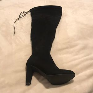 Black Over the Knee Boots - Wide Calf